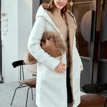 Amii 90% White Duck Down Jacket Winter Women Elegant Hooded