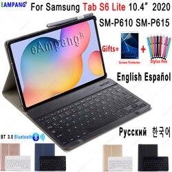 Case for Samsung Galaxy Tab S6 Lite 10.4 Keyboard Case P610 P615 Cover Russian Spanish English Korean Bluetooth Keyboard Funda