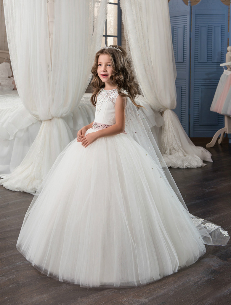 Cute 2019   Flower     Girl     Dresses   For Weddings Ball Gown Tulle Appliques Crystals Bow Long First Communion   Dresses   Little   Girl
