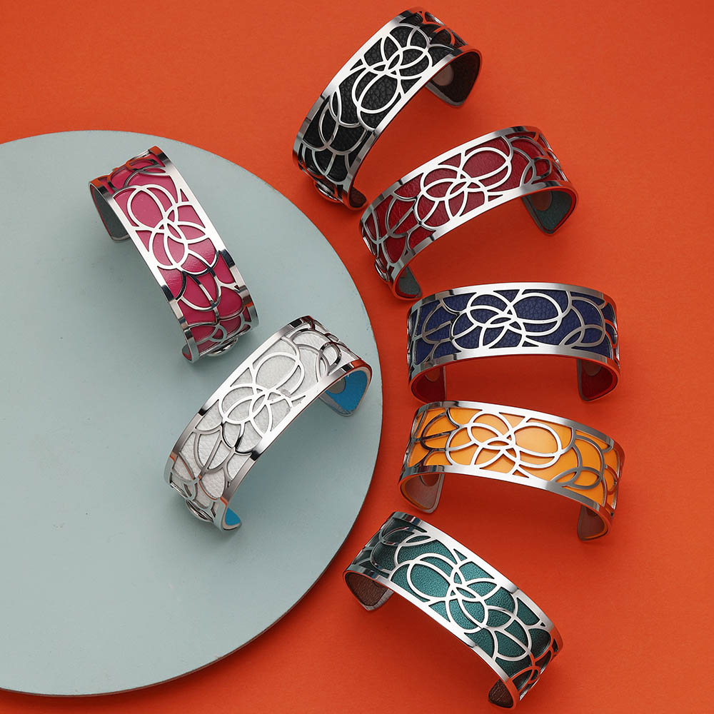 Legenstar Bracelet Georgette fleur bijoux acier inoxydable femme 2019 manchette Bracelet réversible Bracelet en cuir bijoux