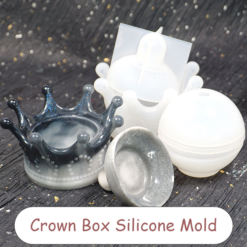 Crown Trinket Box Silicone Mold Dish Mold Tray Mold Kawaii Epoxy Resin Art Supplies UV Resin Craf Silicone Mold Epoxy Molds