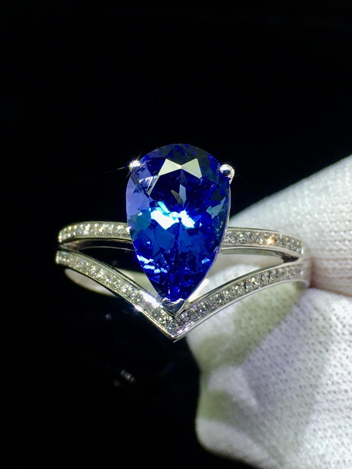 Finr Jewelry 18K White Gold 100% Natural Tanzania Origin Blue Tanzanite Gemstone 2.3ct Female's Ring for Women' Fine Rings-in Rings from Jewelry & Accessories    1