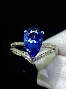 Finr Jewelry 18K White Gold 100% Natural Tanzania Origin Blue Tanzanite Gemstone 2.3ct Female's Ring for Women' Fine Rings - DISCOUNT ITEM  49% OFF All Category
