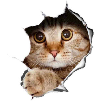 Cute  Lovely Cartoon Graffiti Lifelike Global Decals 3d Cat Stickers Peeking Sticker Sticke KK 8cm X 10cm