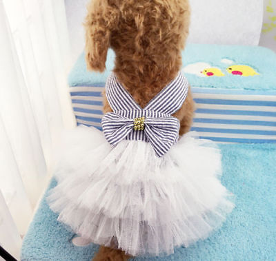 <font><b>Dog</b></font> Lace Tullle <font><b>Dress</b></font> Pet <font><b>Dog</b></font> Puppy For Small <font><b>Dog</b></font> Party Birthday Wedding Striped Bowknot <font><b>Dress</b></font> Costume Spring Pet Clothes XS-<font><b>XXL</b></font> image