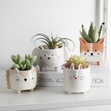 세라믹 꽃 냄비 만화 동물 식물 macetas 발코니 장식 vaso suculenta 화분 수직 정원 냄비 귀여운 화분