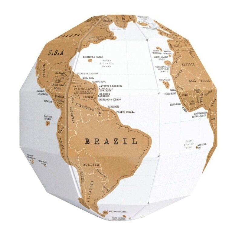 DIY rasguño globo 3D estéreo montaje globo mapa del mundo viaje chico juguete infantil regalo Mapa del mundo LED levitación magnética Globo flotante hogar electrónico antigravedad lámpara novedad bola Luz Decoración de cumpleaños