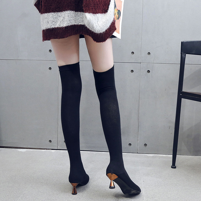 Image 5 - Fashion 2019 Boots Womens Stretch Fabric Pointed Toe Over Knee Boots Ladies Autumn Winter Shoes Casual High Heel Sock BootsOver-the-Knee Boots   -
