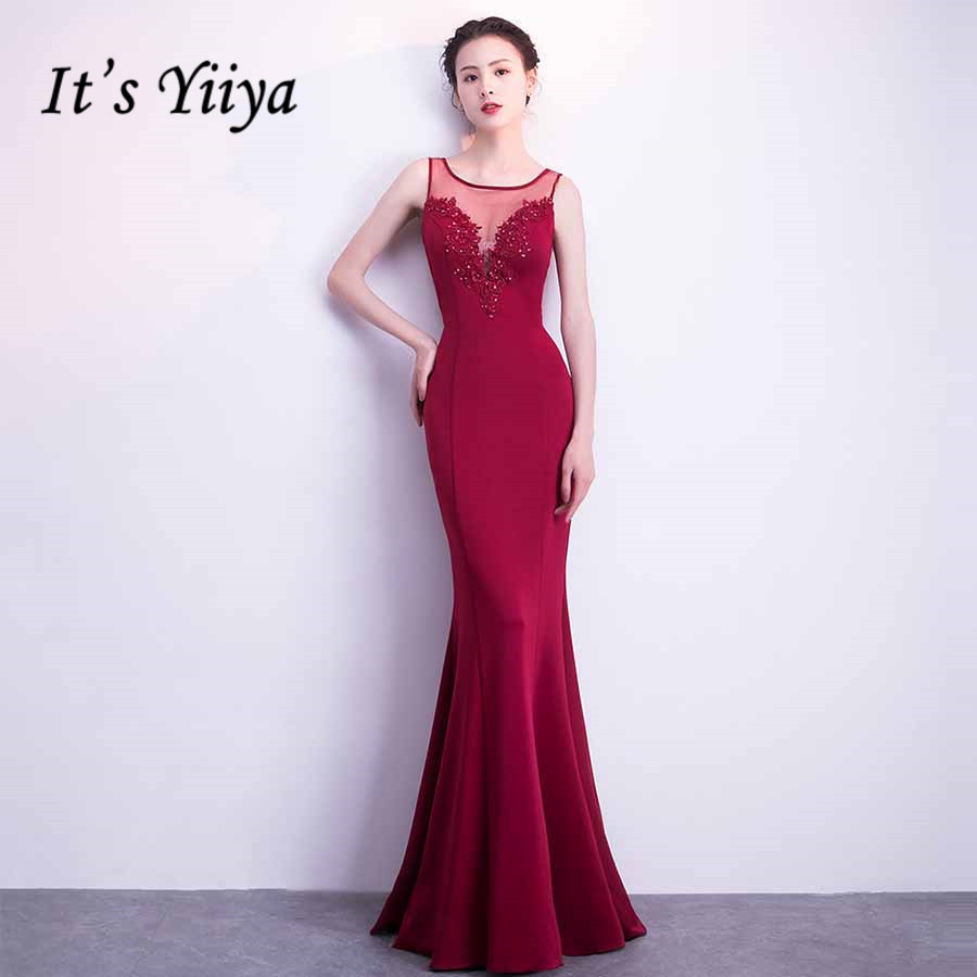 Mermaid Evening Dresses It's Yiiya DX299 Appliques Illusion O-Neck Robe De Soiree Sleeveless Plus Size Solid Evening Dress 2020