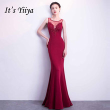 Evening-Dresses Robe-De-Soiree Appliques Mermaid Plus-Size Sleeveless Yiiya O-Neck Solid