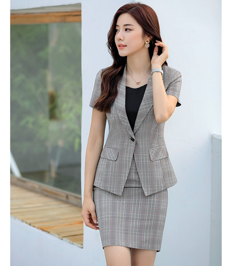 Female Elegant Formal Office Work Wear OL Summer Ladies Blazer Women Jacket Short Sleeve Business Clothes Blazers and Jackets