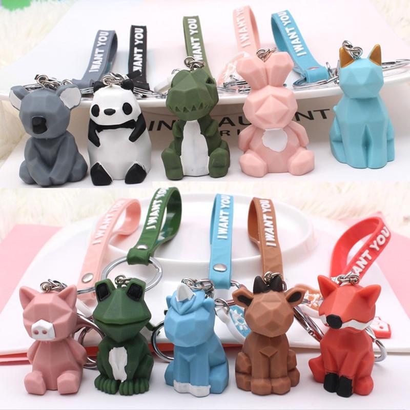 2020 New Fashion Cute Dinosaur Keychain Key Ring Animal Panda Cartoon Key Chain PVC Creative Car Bag Phone Key Ring