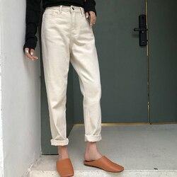 2020 Весна бело-серого цвета джинсы женские свободные девять ботильоны джинсовые штаны Высокая Талия папа джинсы