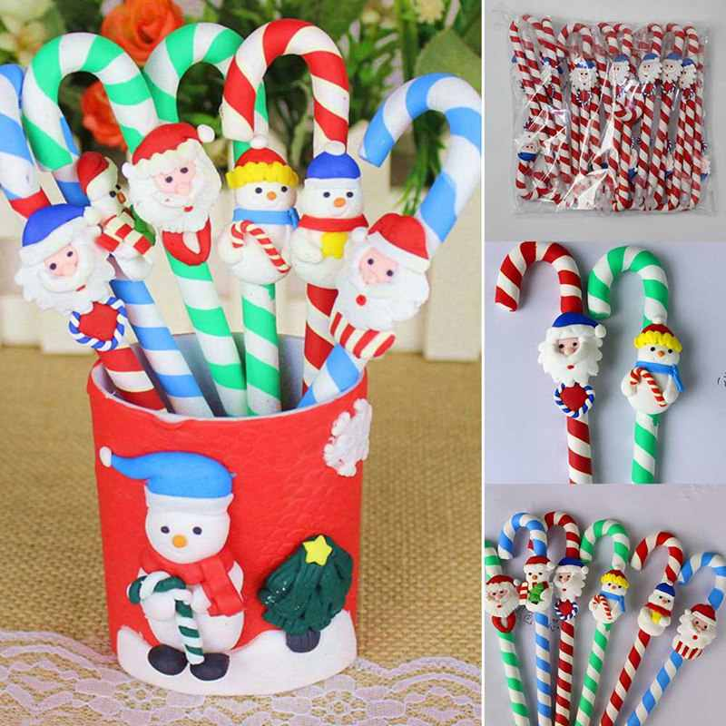 10pcs Christmas Snowman Polymer Caly Ballpoint Pens Office School Supplies