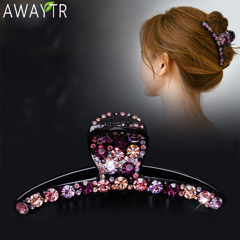 Crystal Hair Claws Colorful Shiny Hairclip Barrettes Women Hair Clip High Quality Hair Clip Rhinestone Hairpins Hair Accessories