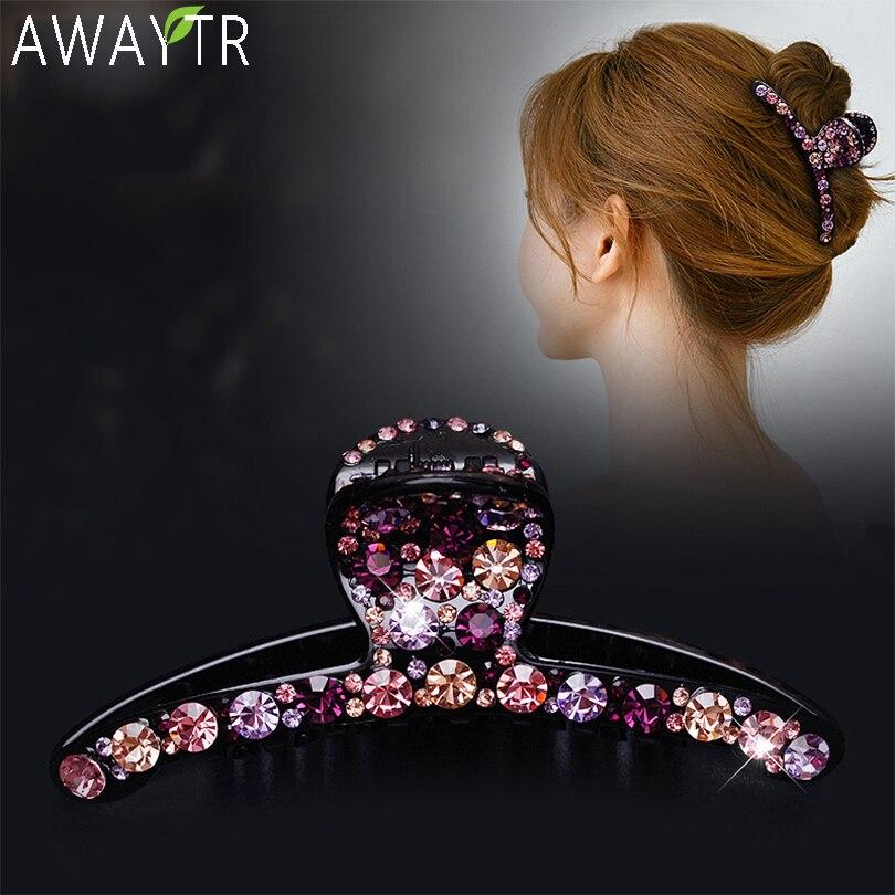 Crystal Hair Claws Colorful Shiny Hairclip Barrettes Women Hair Clip High Quality Hair Clip Rhinestone Hairpins Hair Accessories