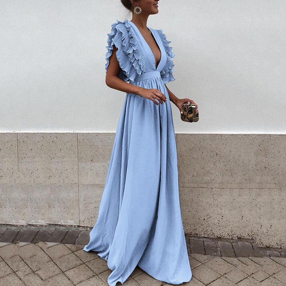 Light Blue Elegant Evening Dress V Neck Ruffled Sleeves A Line Floor Length Women Wedding Party Formal Gowns Evening Dresses