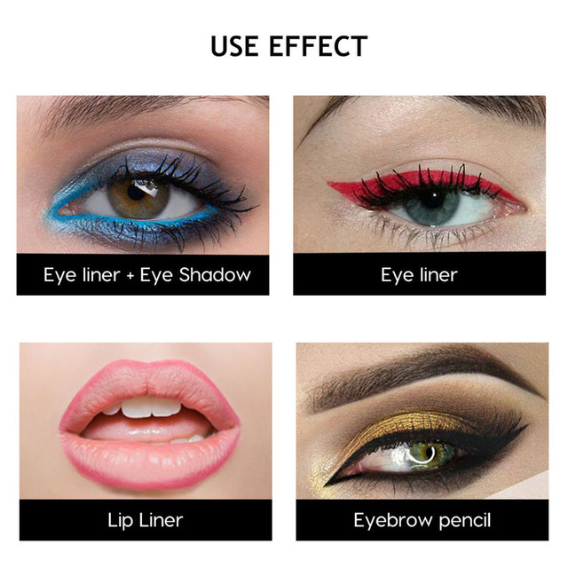 1pc Waterproof Eye Liner Pencil Colorful Pigment Black Brown Blue Red Eyeliner Pen Long-lasting Korean Cosmetics Makeup Tools 2