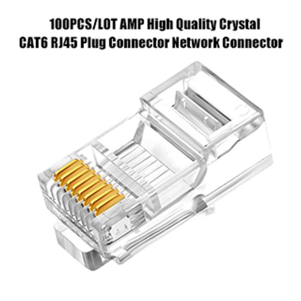 100PCS RJ45 Ethernet Cables Module Plug Network Connector RJ-45 Crystal Heads Cat6 Gold Plated Network Cable