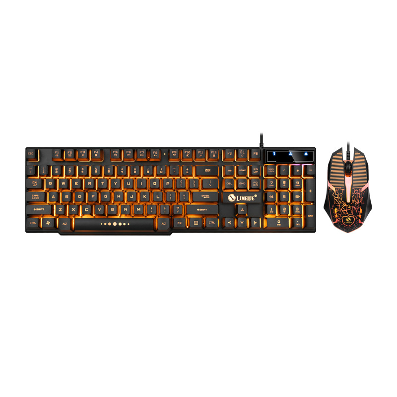 GTX300 English USB  Interface Wired Gaming Keyboards and Mouse Set with Color Lights Waterproof Punk Keyboard, Suitable for Work