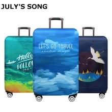 Защитный чехол для багажа JULY'S SONG, эластичный защитный чехол для чемодана на колесиках 18-32 дюйма