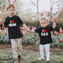 I Love Mom/Dad Kids tshirt Boy Girl t shirt For Children Cotton Toddler Clothes Funny
