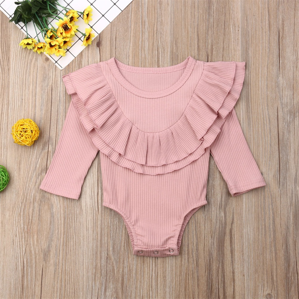 Ribbed Solid Long Sleeve Bodysuit -pink-