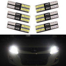 6PCS Super Bright T10 LED 194 501 W5W 24 SMD 4014 Canbus Error Free Car Interior Lights Auto Clearance Lamps DC 12V Car styling(China)