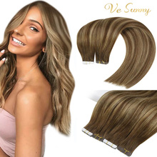Hair-Extensions Skin-Weft-Tape Remy-Hair Invisible Glue Brown Seamless Vesunny Salon