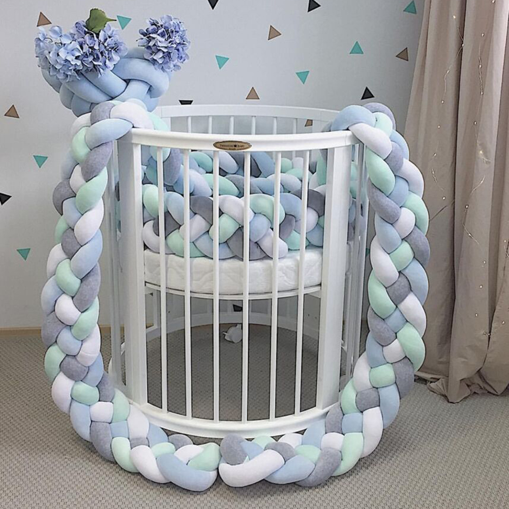 1M/1.5M Bed Cribs Bumper Newborn Four Twist Weave Plush Knot Ball Protector Infant Room Bed Decoration Crib Bedding