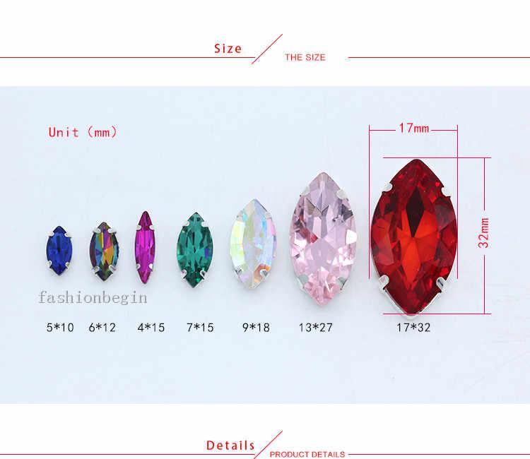 Semua Ukuran Aiguebelle 24 Warna Batu Kaca Pipih Menjahit Pada Kristal Berlian Imitasi Perhiasan Manik-manik Perak Cakar Tombol untuk aksesoris Pakaian