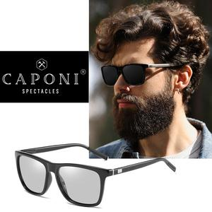 Image 2 - CAPONI Brand Unisex Retro Aluminum+TR90 Square Photochromic Sunglasses Polarized Coating Lens Vintage Sun Glasses For Men BS387