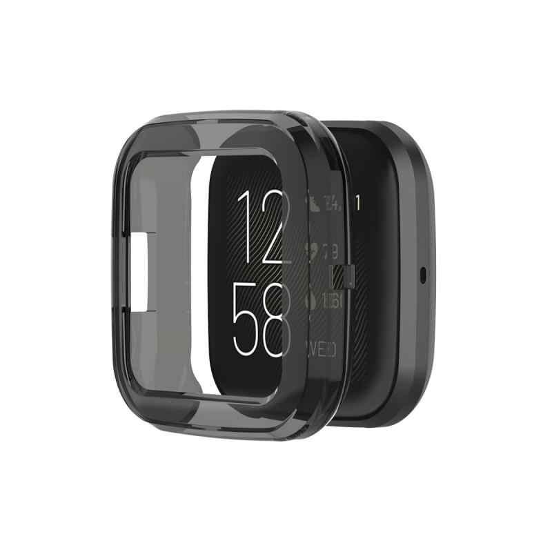 Voor Fitbit Versa 2 Band Ultradunne Soft Tpu Protector Case Cover Clear Beschermende Shell Smart Horloge Armband Scherm protector