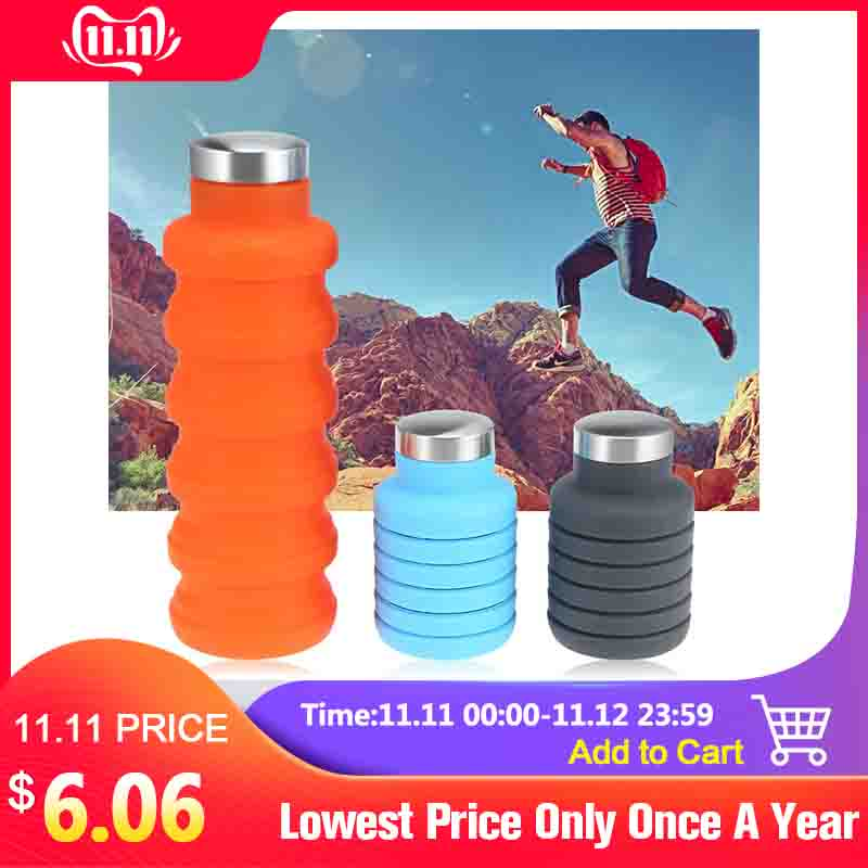 500ML Portable Silicone Water Bottle Retractable Folding Coffee Bottle Outdoor Travel Drinking Collapsible Sport Drink Kettle-in Water Bottles from Home & Garden on AliExpress