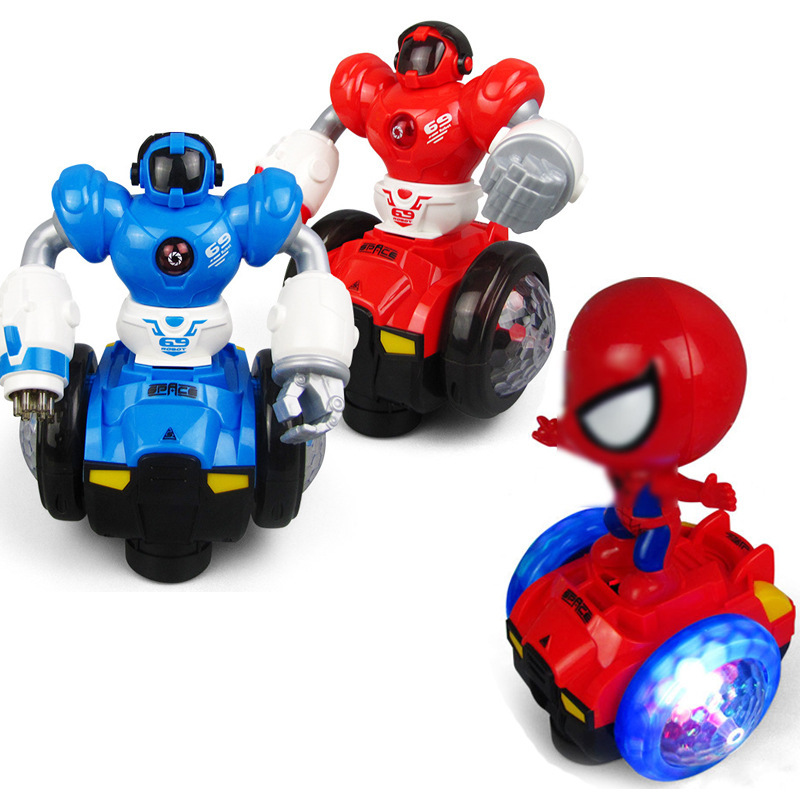 Manufacturers Direct Selling Spider-Man Balance Car Flash Music Electric Universal Scooter Children Boy Stall Toy Car