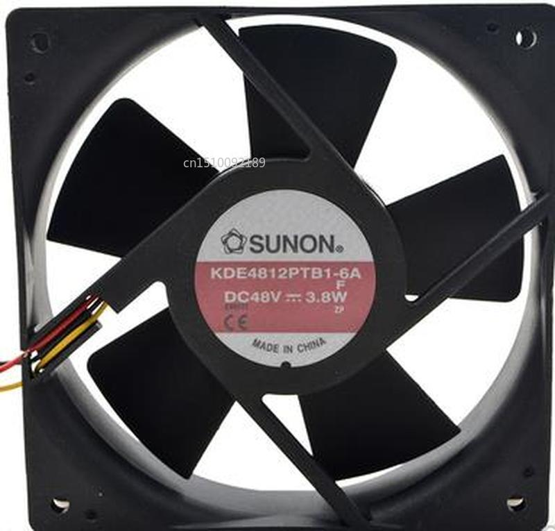 For Original KDE4812PTB1-6A Double Ball Bearing Cooling Axial Fan DC 48V 3.8W 12025 120*120*25mm 2500RPM 3 Wires Free Shipping