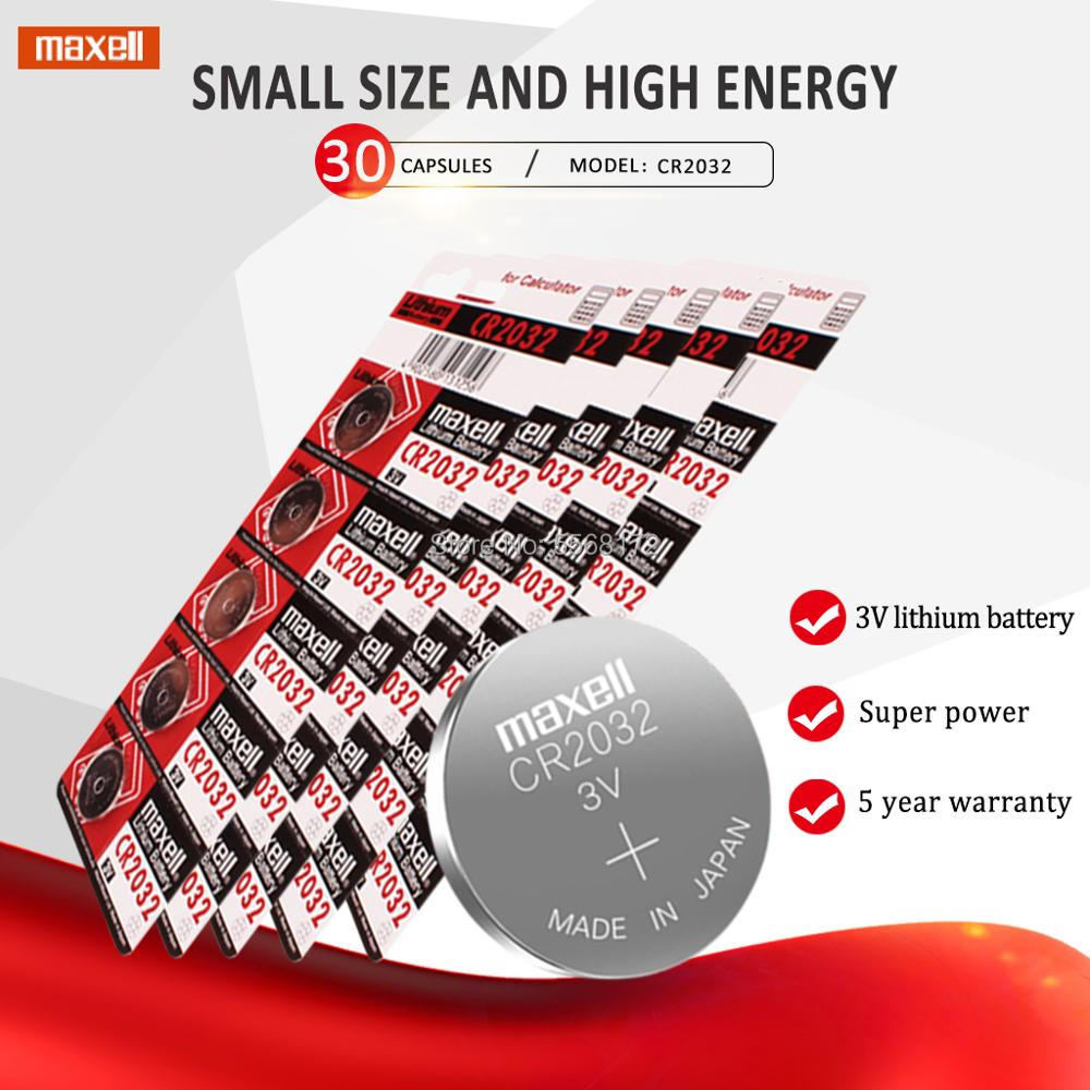 30pcs For maxell original <font><b>2032</b></font> <font><b>battery</b></font> cr2032 3v Button Cell Coin Lithium <font><b>Batteries</b></font> for Watch Computer Toy Remote Control image