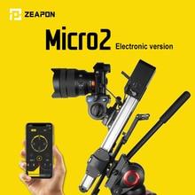 Zeapon micro 2 mini slider portátil ultra silencioso motor motorizado câmera de vídeo dupla distância paralelo deslizante macro pista