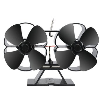 Wentylator z podwójnym piecem do kominka palnik z drewna z podwójnym zasilaniem Eco wentylator wentylator kominkowy termiczny wentylator o dużej mocy tanie i dobre opinie ICOCO Salon Bedroom Termowentylator 800 w Wolnostojące Przewód grzejny Double Stove Fan 20㎡ Regulowany termostat