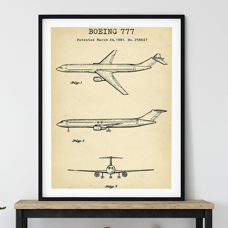 Boeing Airplane Vintage Poster Prints Airliner Patent Retro Art Canvas Painting Plane Blueprint Aviation Wall Decor Pilot Gift image
