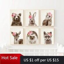 Woodland Animals Canvas Painting Poster Nursery Art Print Flower Cute Hedgehog Bear Fox Owl Baby Home Room Decoration Wall Decor