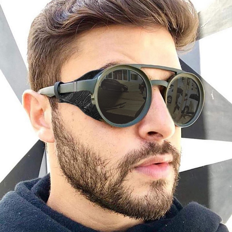 Round Steampunk Sunglasses Men Classic Brand Designer  Vintage Punk Rivet Wrap Sun Glasses Retro Leather Eyewear For Male UV400