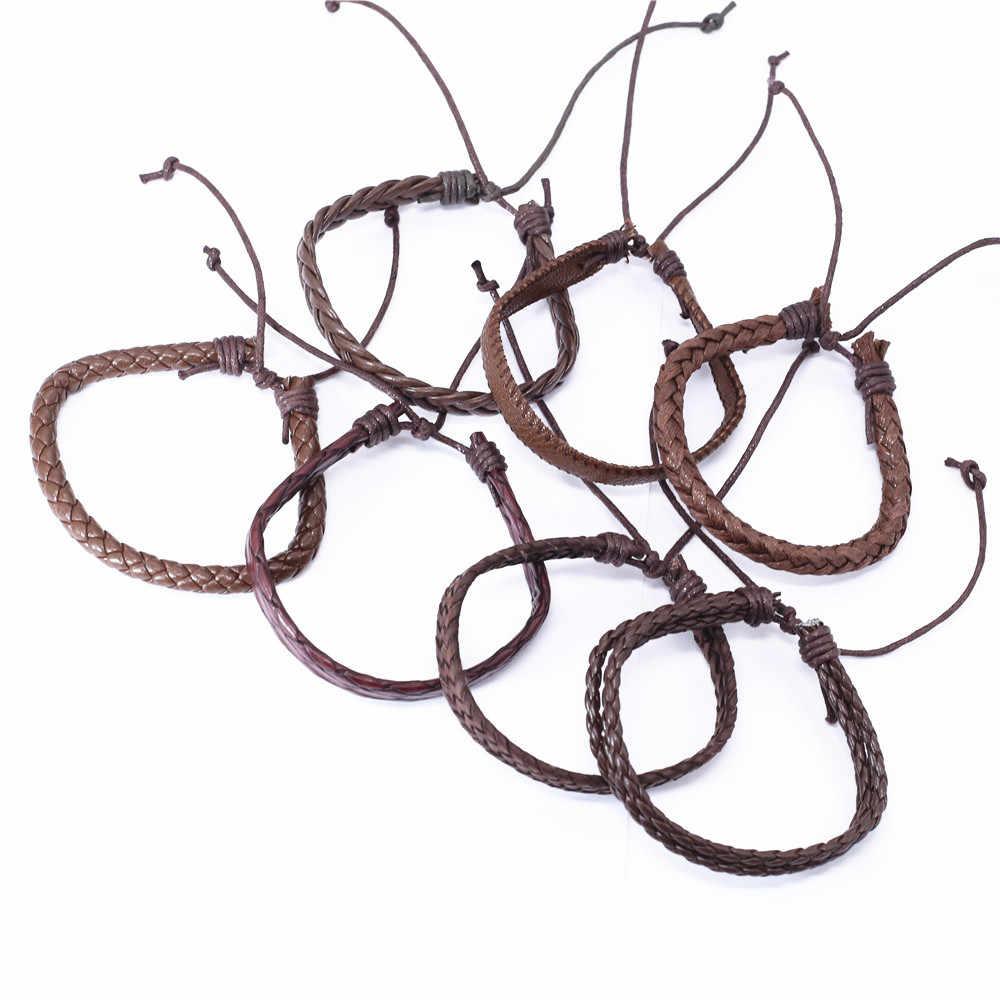 Модный кожаный браслет ручной работы в стиле бохо, переплетение с узором Homme, мужские браслеты для женщин, ювелирные изделия Pulsera Hombre Erkek Bileklik Bijoux 2019