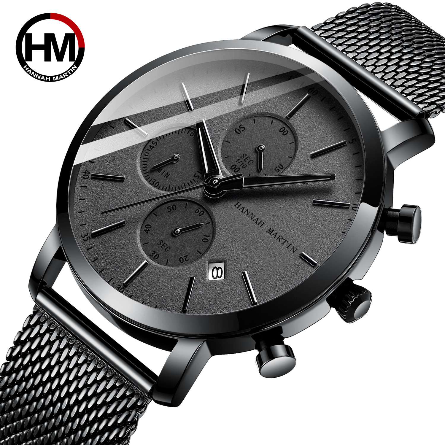 Hannah Martin 2020 Black Stainless Steel Mesh Sport Watch Men Multi-function Chronograph Calendar Men's Top Brand Luxury Watches