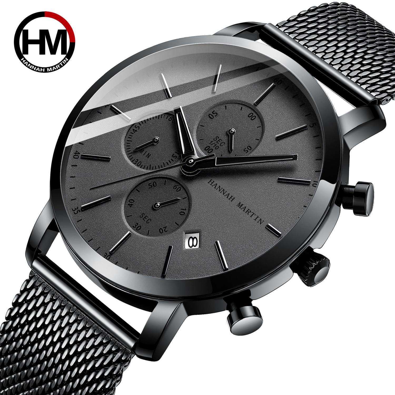 Hannah Martin 2020 Black Stainless Steel Mesh Sport Watch Men Multi-function Chronograph Calendar Men's Top Brand Luxury Watches