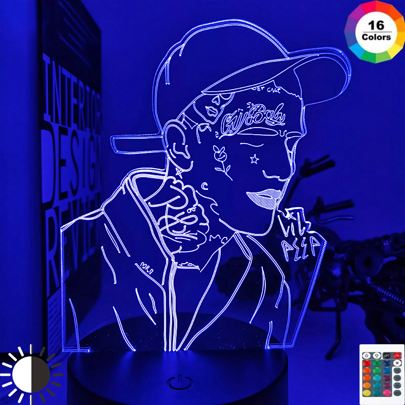 American Rapper Lil Peep Led Night Light for Home Decoration Colorful Night Light for Children Dropshipping 3d Lamp Celebrity