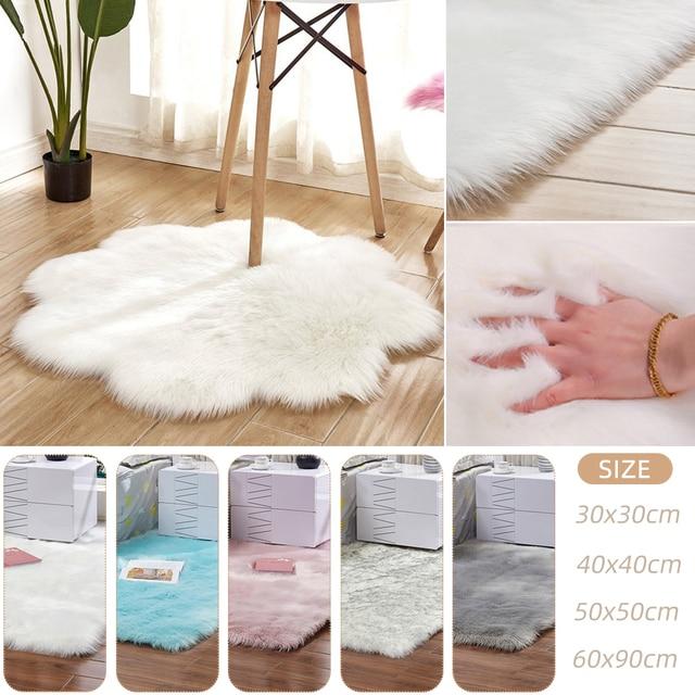 1pc Antiskid Soft Faux Fur Wool Carpet Indoor Sheepskin Rug Modern Carpet Mat Blue White  Gray Living Room 30x30cm 6