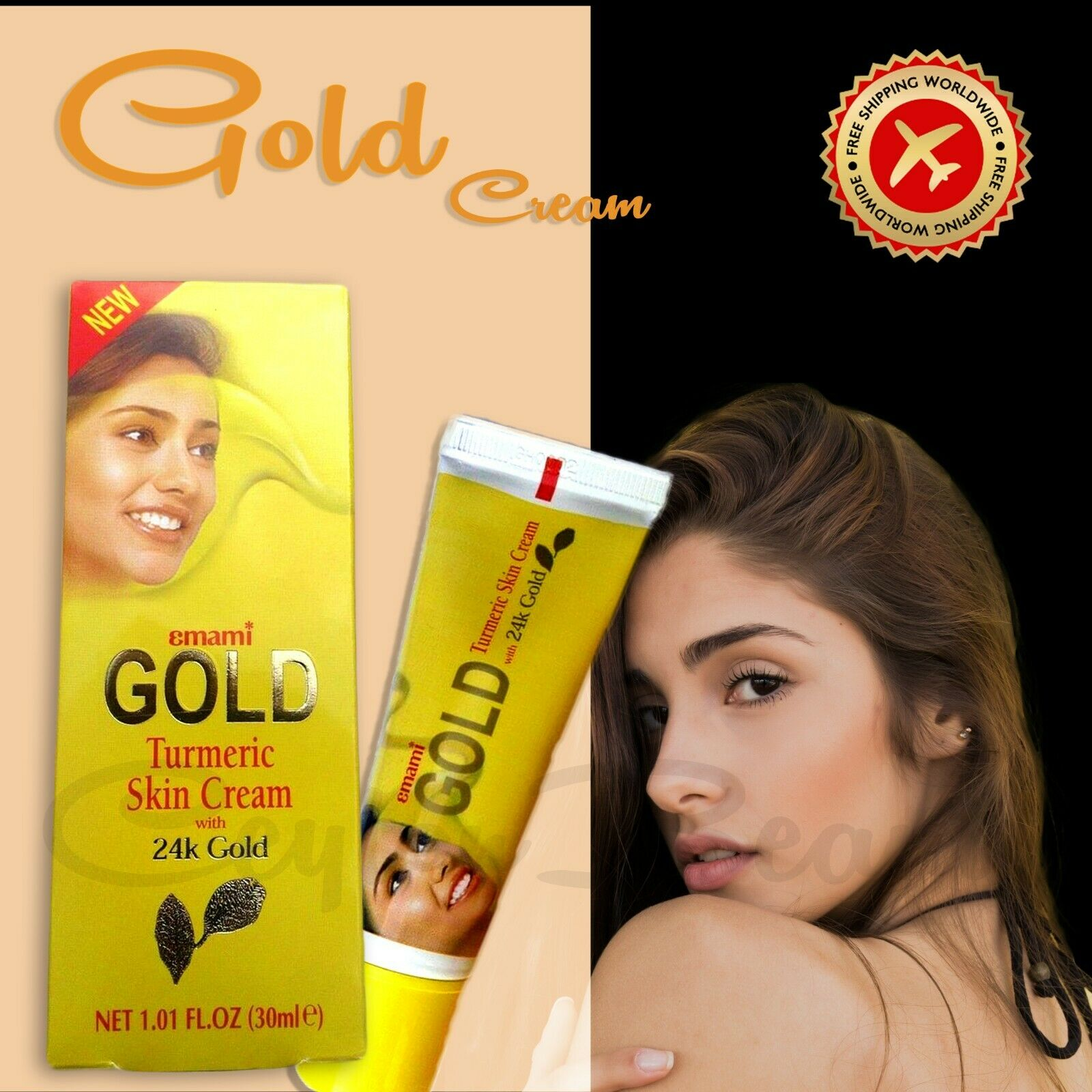GOLD Turmeric Skin Lightening Cream 30ml 24k Gold Natural Herb Extracts Free Ship