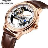 GUANQIN reloj esqueleto para hombres Reloj Mecánico Tourbillon automático resistente al agua tapa luminosa reloj de lujo de marca reloj masculino