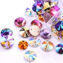 AAAAA Quality Colorful Round Sew On Rhinestones Flatback Round Rivoli Glass Strass стразы Sewing Rhinestones Wedding Dress B3862